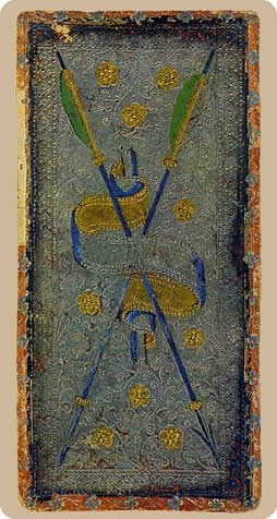 Two of Wands Tarot Card - Cary-Yale Visconti Tarocchi Tarot Deck