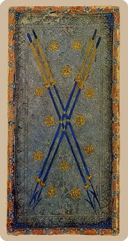 Four of Batons Tarot Card - Cary-Yale Visconti Tarocchi Tarot Deck
