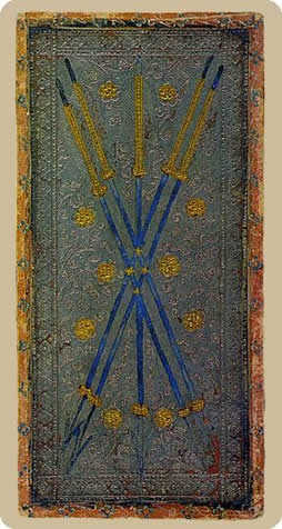 Five of Staves Tarot Card - Cary-Yale Visconti Tarocchi Tarot Deck