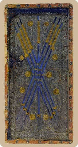Seven of Batons Tarot Card - Cary-Yale Visconti Tarocchi Tarot Deck