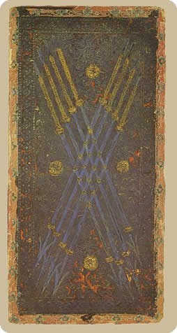 Eight of Pipes Tarot Card - Cary-Yale Visconti Tarocchi Tarot Deck