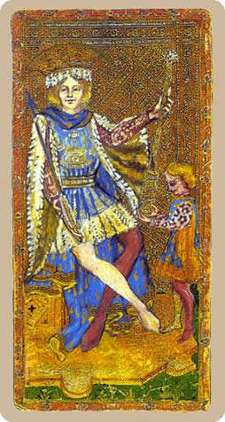 King of Staves Tarot Card - Cary-Yale Visconti Tarocchi Tarot Deck