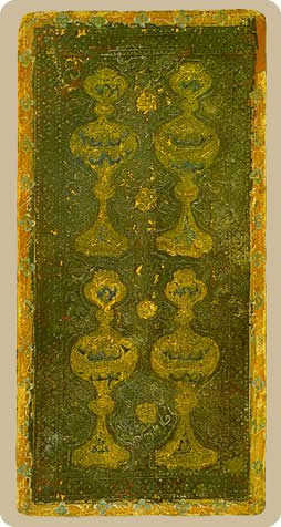 Four of Cups Tarot Card - Cary-Yale Visconti Tarocchi Tarot Deck