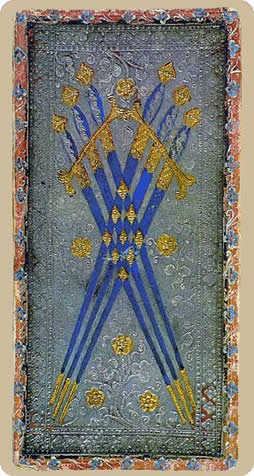 Six of Arrows Tarot Card - Cary-Yale Visconti Tarocchi Tarot Deck