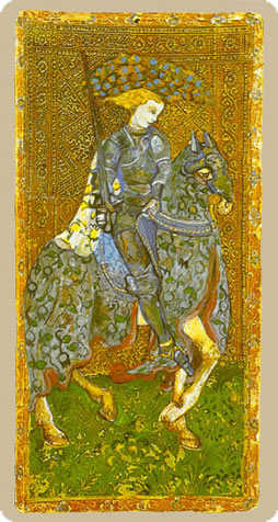 Cavalier of Swords Tarot Card - Cary-Yale Visconti Tarocchi Tarot Deck
