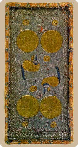Four of Stones Tarot Card - Cary-Yale Visconti Tarocchi Tarot Deck