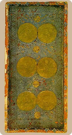 Six of Coins Tarot Card - Cary-Yale Visconti Tarocchi Tarot Deck