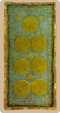 Seven of Coins Tarot Card - Cary-Yale Visconti Tarocchi Tarot Deck