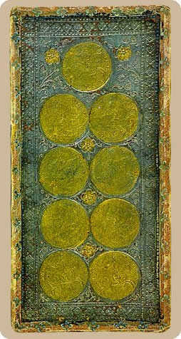 Nine of Discs Tarot Card - Cary-Yale Visconti Tarocchi Tarot Deck