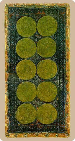 Ten of Pumpkins Tarot Card - Cary-Yale Visconti Tarocchi Tarot Deck