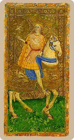 Knight of Buffalo Tarot Card - Cary-Yale Visconti Tarocchi Tarot Deck