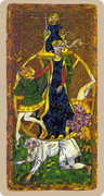 Wheel of Fortune Tarot card in Cary-Yale Visconti Tarocchi deck