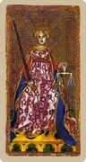 Justice Tarot card in Cary-Yale Visconti Tarocchi deck