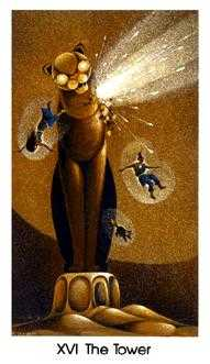 The Falling Tower Tarot Card - Cat People Tarot Deck
