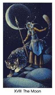 The Moon Tarot Card - Cat People Tarot Deck