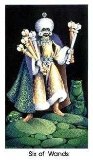 Six of Staves Tarot Card - Cat People Tarot Deck