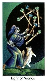 Eight of Staves Tarot Card - Cat People Tarot Deck