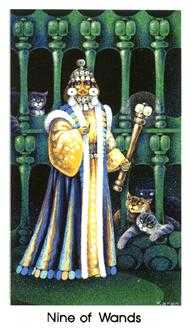 Nine of Staves Tarot Card - Cat People Tarot Deck