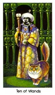 Ten of Staves Tarot Card - Cat People Tarot Deck