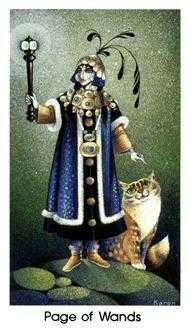 Page of Staves Tarot Card - Cat People Tarot Deck