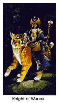 Knight of Staves Tarot Card - Cat People Tarot Deck