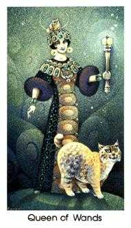 Queen of Staves Tarot Card - Cat People Tarot Deck