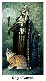 King of Batons Tarot Card - Cat People Tarot Deck