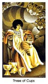 Three of Cups Tarot Card - Cat People Tarot Deck
