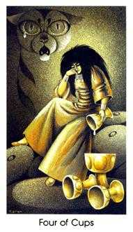 Four of Cups Tarot Card - Cat People Tarot Deck