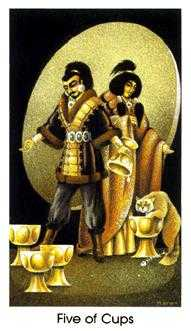 Five of Cups Tarot Card - Cat People Tarot Deck