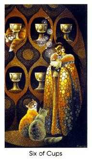Six of Cups Tarot Card - Cat People Tarot Deck
