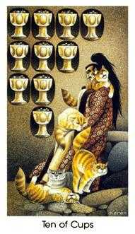 Ten of Cups Tarot Card - Cat People Tarot Deck