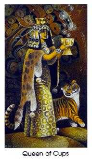 Reine of Cups Tarot Card - Cat People Tarot Deck