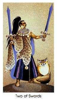 Two of Arrows Tarot Card - Cat People Tarot Deck