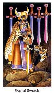 Five of Wind Tarot Card - Cat People Tarot Deck