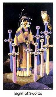 Eight of Swords Tarot Card - Cat People Tarot Deck