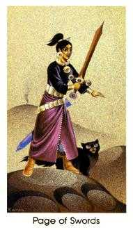 Page of Swords Tarot Card - Cat People Tarot Deck