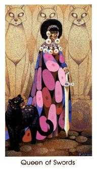 Queen of Arrows Tarot Card - Cat People Tarot Deck
