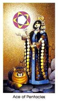 Ace of Pentacles Tarot Card - Cat People Tarot Deck