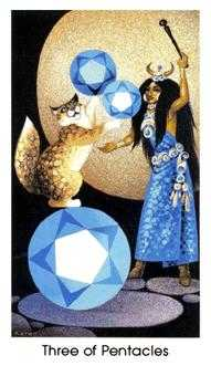 Three of Pentacles Tarot Card - Cat People Tarot Deck