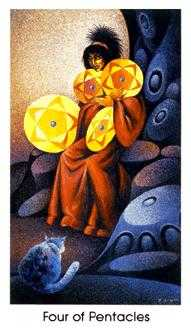 Four of Pumpkins Tarot Card - Cat People Tarot Deck