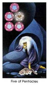 Five of Pentacles Tarot Card - Cat People Tarot Deck