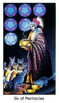 Six of Pentacles Tarot Card - Cat People Tarot Deck