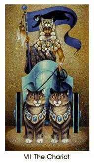 The Chariot Tarot Card - Cat People Tarot Deck
