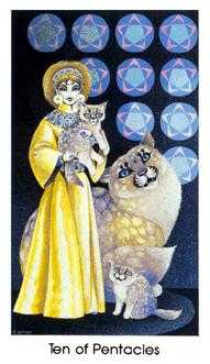 Ten of Pentacles Tarot Card - Cat People Tarot Deck