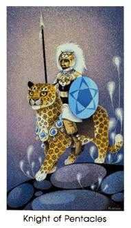 Cavalier of Coins Tarot Card - Cat People Tarot Deck
