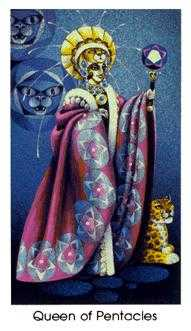 Queen of Buffalo Tarot Card - Cat People Tarot Deck