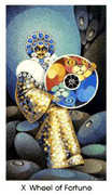 Wheel of Fortune Tarot card in Cat People Tarot deck