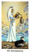 Temperance Tarot card in Cat People deck