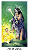 Ace of Wands Tarot card in Cat People deck